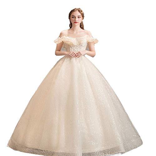 Stilvolle Einfachheit Frauen Hochzeitskleid, Hochzeit Maxi Kleid Spitze Applique Vintage Brautkleider V-Ausschnitt Classic Empire, White_M, L-F, Champagner, Groß