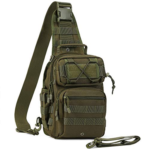 AmHoo Tactical Sling Bag Outdoor EDC Molle Backpack Army Green