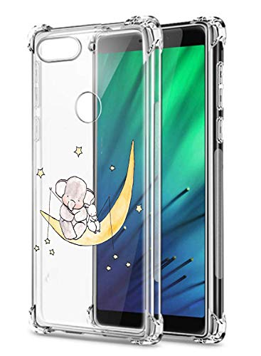 Oihxse Crystal Coque pour Xiaomi Redmi 6 Transparent Silicone TPU Etui Air Cushion Coin avec Motif [Elephant Lapin] Housse Antichoc Protection Bumper Cover (A11)
