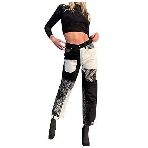 Damen Patchwork Jeans Hohe Taille Streetwear Stretch Hose mit weitem Bein Denim Lose Gerade Hose 70er Vintage Mode E-Girl Style Y2K Schlagjeans Hose S-2XL (Black 1, XL)