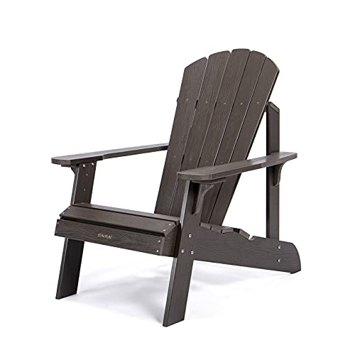 Oversized Adirondack Chair Weather Resistant, SNAN Poly Lumber Fade-Resistant Lounge Chair with Ergonomic Curved Backrest&Reinforced Rear Support Plates, Sturdy Chair for Garden&Pool(Coffee)