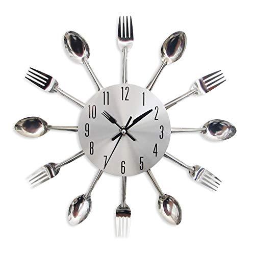 Relógio de parede 3D removível, moderno, criativo, talheres, colher de cozinha, garfo, espelho, decalque de parede, adesivo de parede, decoração de quarto, relógio de parede