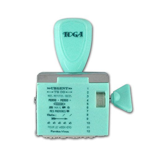Toga TPM105 Tampon à Messages 12 Expressions Notes Plastique Turquoise 9.5 x 14.5 x 3 cm