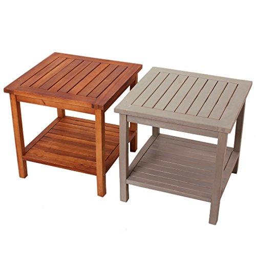 """Beistelltisch aus Holz \""""Athene\"""" aus Akazienholz perfekt für den Balkon oder als Couchtisch - Massivholz - zwei Ebenen - Gartentisch - Holztisch - vintage - retro - viele Farben - Gitteroptik (Naturbraun)"""