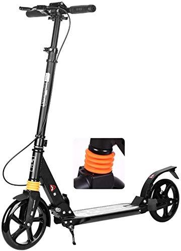 Patín Eléctrico Kick Plegable Moto for Adultos Jóvenes Niños Ruedas Grandes del Viajero Scooter con Freno de Mano de Doble suspensión y Altura Regulable - Apoyos 100kg (Color : Black)