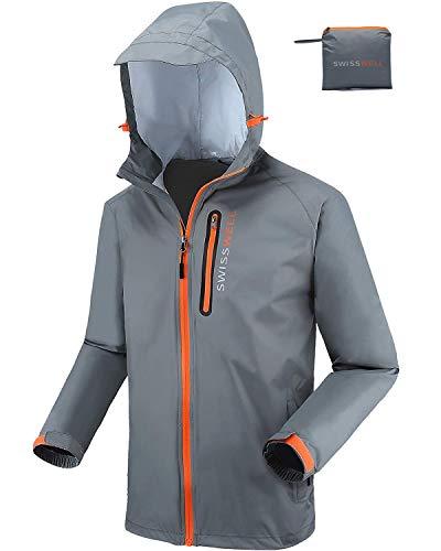 SWISSWELL Men's Cycling Running Jacket Waterproof Bicycling Windbreaker Reflective Packable Raincoat (Grey, X-Large)