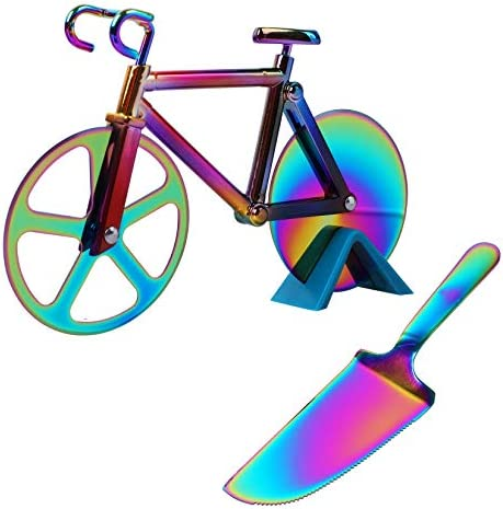 Bicycle Shape Pizza Cutter Wheel Partim Stainless Steel Bicycle Pizza Slicer with Pizza Shovel product image