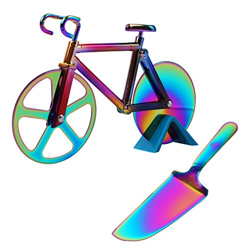 Bicycle Shape Pizza Cutter Wheel Partim Stainless Steel Bicycle Pizza Slicer with Pizza Shovel and Stand Nonstick Double Cutting WheelCool Kitchen Gadgets Colour