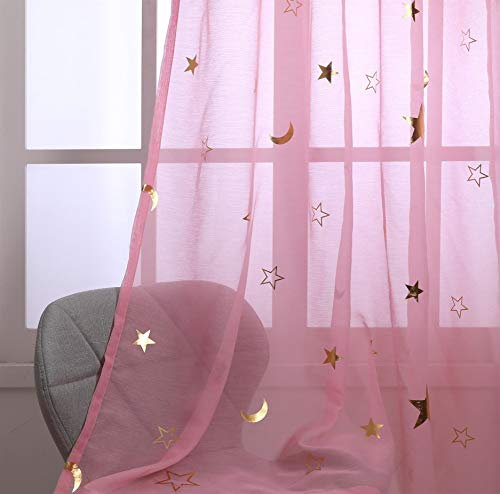Girls Curtains for Bedroom Pink Sheer Star Curtain for Window Treatment Grommet Top Transparent and Light Fliter Cosmic Theme for Kitchen / Living Room 63 inch Long 2 Panels Gold