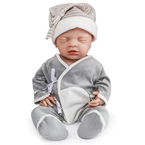 Vollence Muñeco bebé durmiente realista de 46 cm. Libre de PVC. Ojos cerrados. Muñeco bebé casi real con cuerpo completo lleno de silicona. Hecho a mano. Muñeco bebé de silicona suave con ropa – Chico