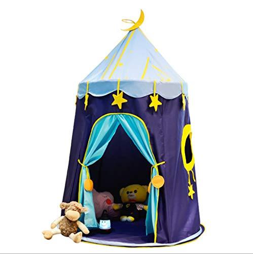 TYUE Niños Castillo Jugar Tienda Juego casa Mongol yurtas Tipi Carpa Interior al Aire Libre jardín Playa Juguetes Playhouse para niños niñas príncipe Princesa Estrella Azul