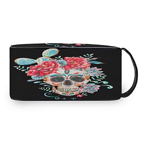QMIN Tragbare Kulturtasche Kaktus Blumen Zucker Totenkopf Kulturbeutel Reise Multifunktionale Kosmetiktasche Make-up-Tasche Aufbewahrungstasche für Jungen Mädchen Damen Herren