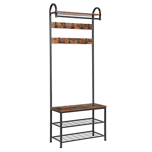 HOOBRO Coat Rack Shoe Bench, Industrial Hall Tree with Storage Shelf, Entryway Bench with Hooks, 4 in 1 Design, Accent Furniture with Metal Frame, Easy Assembly, Rustic Brown BF13MT01