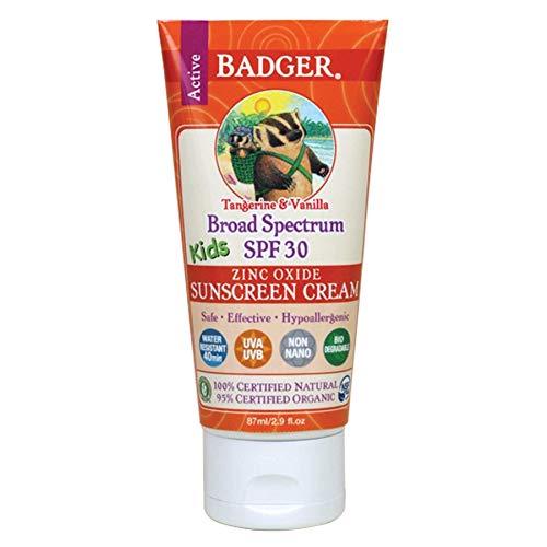 Badger - SPF 30 Kids Sunscreen Cream, Tangerine and Vanilla - 2.9 Fl Oz Tube