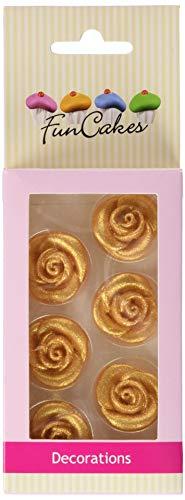 FunCakes Marzipan Dekorationen Rosen Gold Set/6, 51 g
