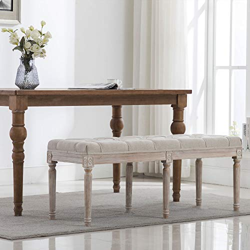 chairus Fabric Upholstered Dining Bench - Classic Entryway Ottoman Bench Bedroom Bench with Rustic Wood Legs - Beige