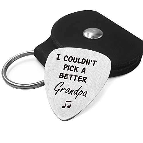 Best Grandpa Gifts - Grandpa Love Quotes Stainless Steel Guitar Pick with Guitar Pick Holder Case - Perfect Family Gift Ideas for Father's Day Birthday Christmas from Granddaughter Grandson