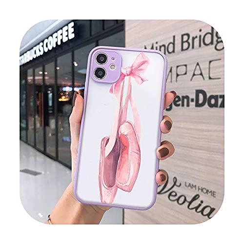 Linda dibujos animados arte colorido bailarina teléfono casos mate transparente para iphone 7 8 11 12 más mini x xs xr pro max cover-a12-iPhone11pro max