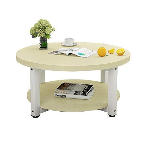 Xiaolin Table Basse en Bois à 2 Niveaux Petit Appartement Table à Manger Table de Bureau Salon Table d'appoint Petite Table Ronde Deux Tailles (Couleur : C, Taille : 60 * 45cm)
