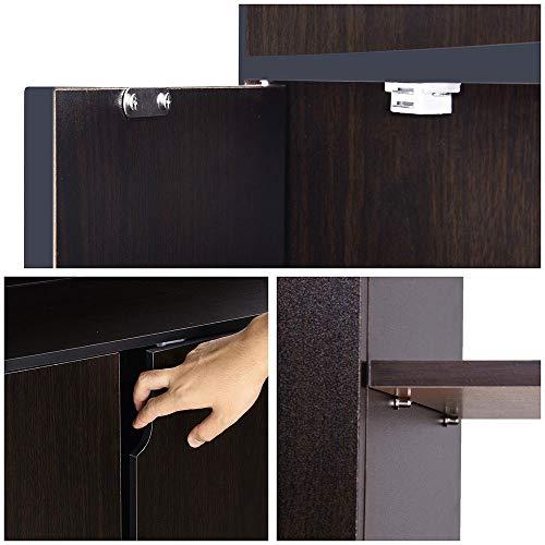 "Yescom 31.5""x12""x35"" Shoes Cabinet 2-Door 18 Pairs Storage Organizer Removable Shelves Entryway Hallway Blackwalnut"