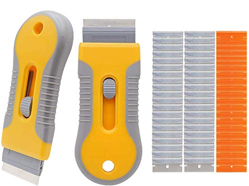 2pcs Razor Blade Scraper Retractable Mini Plastic Scraper Labels Decals Sticker Removal Scraper Tool with 60 Pcs Extra Blades for Window Glass Cooktop Paint Cleaning