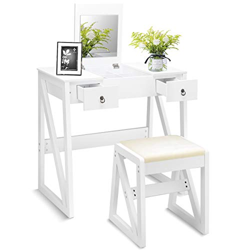 Giantex - Conjunto de tocador y taburete de madera con espejo plegable y almacenaje, color blanco, estilo escandinavo, tamaño tocador 80 x 40 x 76 cm
