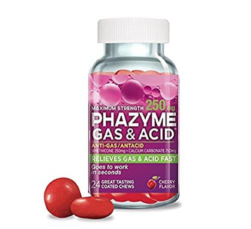 Phazyme Maximum Strength 250mg Gas & Acid Chews - Cherry Flavor - 24ct (Pack of 2)