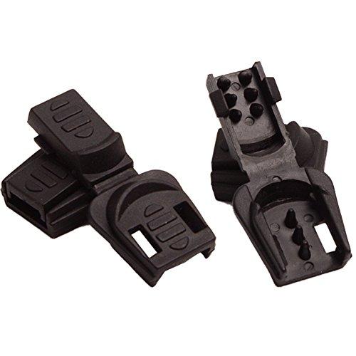 Aligle 100pcs Zip Clip Buckle Zipper Pulls Cord Rope Ends Lock Black Plastic Zipcords Stopper for Paracord