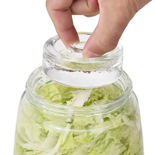 Glas-Gärgewichte mit innovativem Griff für Einmachgläser mit breiter Öffnung, perfekt für die Herstellung von Gurken, Sauerkraut und anderen Fern, 4 Stück