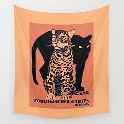 Retro Vintage Munich Zoo Big Cats Tapiz de pared Toalla de playa Picnic Yoga Mat Decoración del hogar 150x100cm