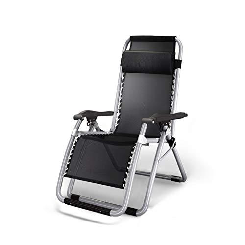KHL Cool Noir Respirant Confort Ultra Large Chaise Pliante Rembourrée De Loisir Lit Sieste Dos Dos Paresseux Canapé Maison Balcon Chaise Grande Chaise Longue De Inclinable