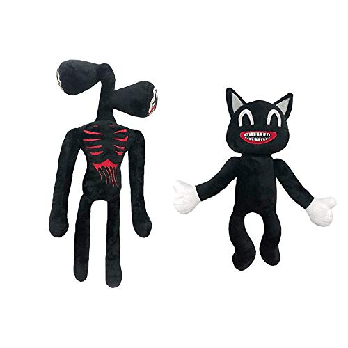 40cm/15.7in Siren Head Plush Toys,Scary Cartoon Cat Plush ,Double Head Stuffed Doll for Kids Friends Family Animal Gift (Black Cat+Black)