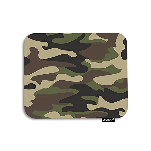 Moslion Green Mouse Pad Retro Classic Camouflage Green Brown Olive Color Forest Gaming Mouse Pad Rubber Large Mousepad for Computer Desk Laptop Office Work 7.9x9.5 Inch
