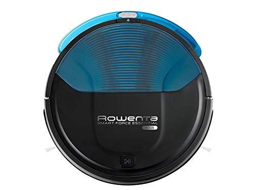 Rowenta RR6971WH Smart Force Essential Aqua Robot aspirador 2 en 1, aspira y friega, con sensores anticaída, 150 min autonomía, mando a distancia y base de carga, Negro Azul (Reacondicionado)