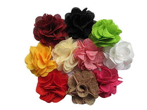 YYCRAFT 15pcs Burlap Flower Roses,3D Fabric Flowers for Headbands Hair Accessory DIY Crafts/Wedding Party Decorations/Scrapbooking Embellishments(2.25',Mix)