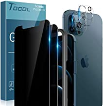 TOCOL 4 Pack Compatible with iPhone 12 Pro (Not for iPhone 12) - 2 Pack Privacy Tempered Glass Screen Protector and 2 Pack Glass Camera Lens Protector Alignment Frame Bubble Free Case Friendly - Black