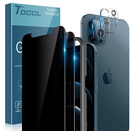 TOCOL 2 Stück Sichtschutz Kompatibel mit iPhone 12 Pro 5G 6.1 Zoll und 2 Stück Kamera schutzfolie 9H Hartglas Blasenfrei Privacy Schutz Positionierungsrahmen Doppelter Schutz