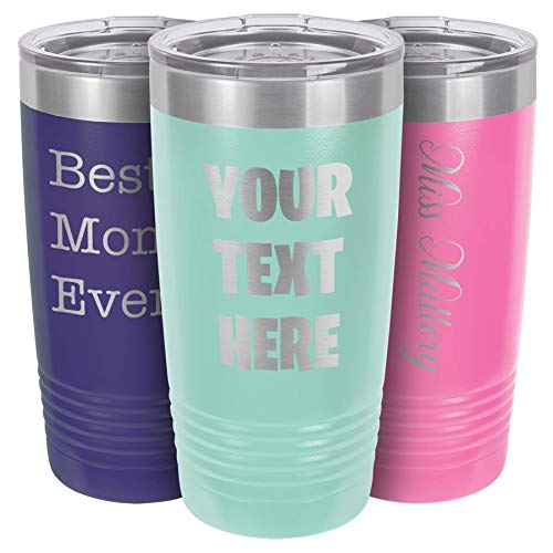 Personalized Tumbler for Women | Engraved Monogram Initial | Travel Coffee Mug | Multiple Colors Available | Tumbler with Lid Included | Keep Drinks...