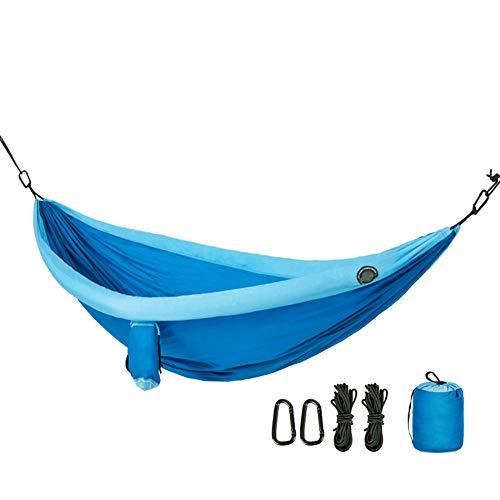 QWERTYU Acampar Hamaca - Ligero de Nylon portátil Hamaca, Mejor paracaídas Hamaca Doble para Excursionismo, el Acampar, Viaje, Playa,Azul