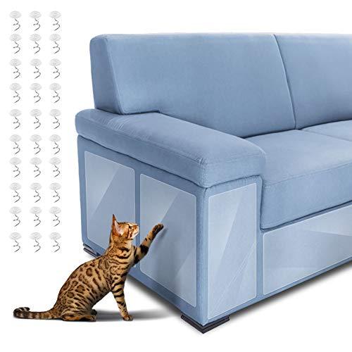 Dadabig 6pcs Protector de Muebles Gatos, Protector Sofa Gatos Protector de Sofá para Mascotas con 30 Tornillos Evitar Que los Gatos Rasguñen los Muebles (Transparente, 14 * 48cm y 30 * 45cm)