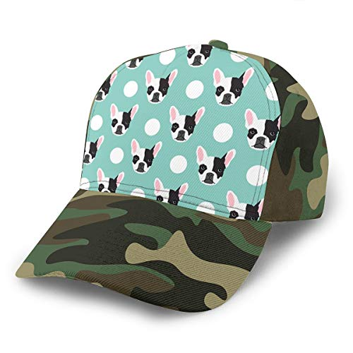 YongColer Adult Men's Fashion Dad Baseball Cap French Bulldog Pattern Tech Hat, Breathable Moisture Wicking Dad Cap Peaked Cap Hip Hop Relaxed Fit Trucker Hat for Baseball Hiking