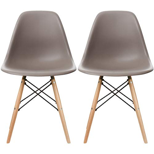2xhome Set of 2 Taupe Gray Mid Century Modern Contemporary Vintage Molded Shell Designer Side Plastic Eiffel Chairs Wood Legs for Dining Room Living Conference DSW Desk Kitchen Comfortable