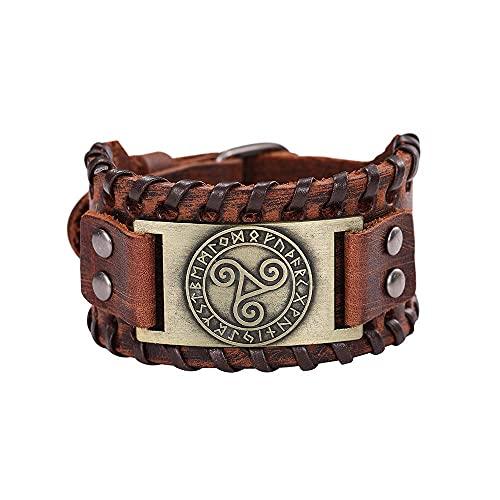 JIEZ Vintage Celtics Símbolo Triskel Metal Pulseras Mujeres Hombres Cuero Genuino Brazalete Wicca Runas Amuleto Joyería