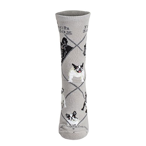 Calcetines en color gris con diseño de bulldog francés Gris gris medium