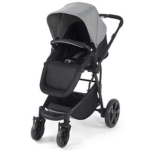 COSTWAY Kinderwagen mit Ablagekorb, Sportwagen klappbar, Babywagen verstellbar, Reisebuggy, Kinderbuggy, Kombikinderwagen (Grau)
