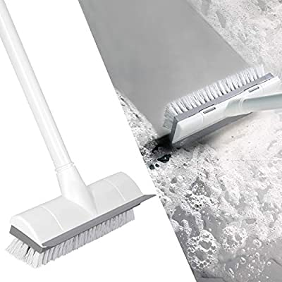 "BOOMJOY Floor Scrub Brush with Long Handle -50"" Stiff & Soft Brush, 2 in 1 scrape and brush,Tub and Tile Brush for Cleaning Bathroom, Patio, Kitchen, Wall and Deck"