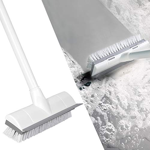 BOOMJOY Floor Scrub Brush with Long Handle -50' Stiff & Soft Brush, 2 in 1 scrape and brush,Tub and Tile Brush for Cleaning Bathroom, Patio, Kitchen, Wall and Deck