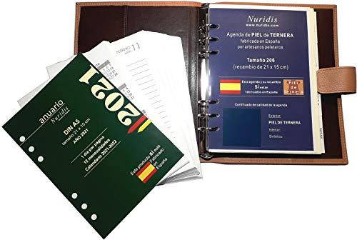 Agenda española de Piel de ternera Premium, con recambio del año, 1 día página (Marrón)