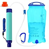 SimPure Gravity Water Filter Straw, Portable Water Purifier with 3L Gravity-Fed Bag, Outdoor Survival Gear for Camping Hiking and Emergency, BPA Free