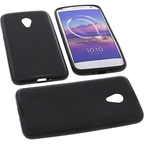 foto-kontor Tasche für Alcatel U5 HD Gummi TPU Schutz Handytasche schwarz